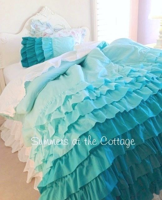 Turquoise Shabby Chic Bedrooms: SHADES OF AQUA TURQUOISE RUFFLES SHABBY COTTAGE CHIC