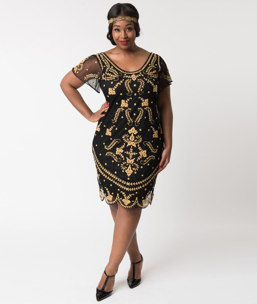 Plus size vintage style black u gold embroidered florence flapper