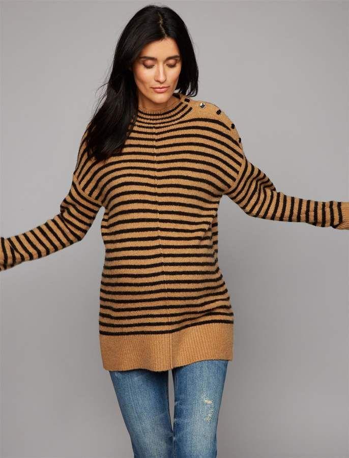 ee512c61432da A Pea in the Pod Luxe Essentials Denim Button Shoulder Maternity Sweater