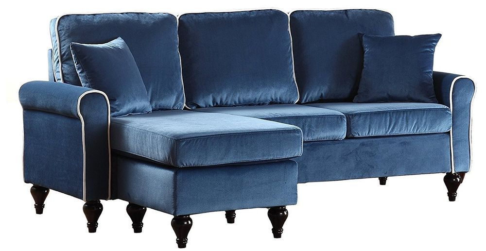 Details About Small Space Velvet Sectional Sofa Configurable Couch Reversible Chaise Blue Small Space Sectional Sofa Sectional Sofa Velvet Sectional