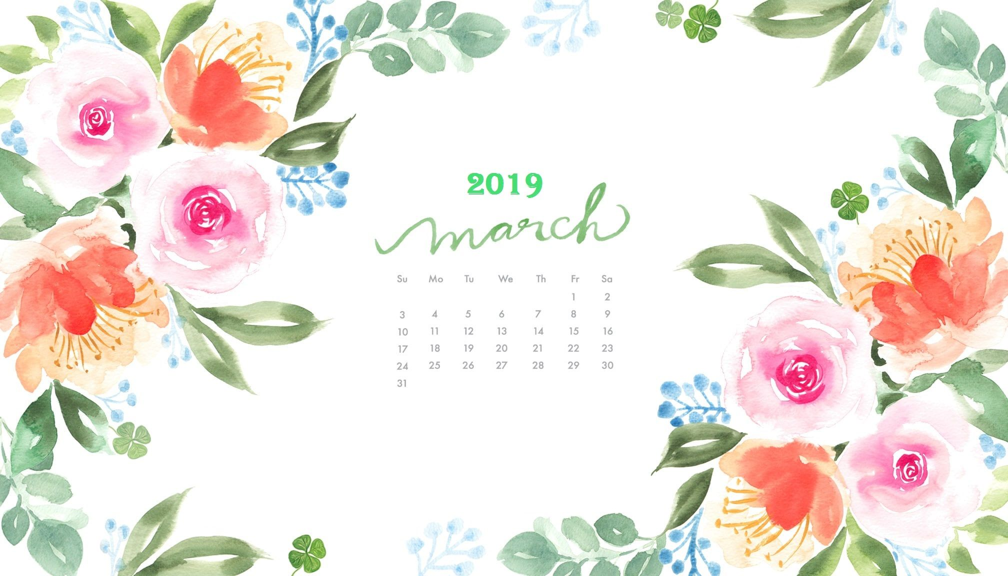 March 2019 Watercolor Calendar Wallpaper Desktop Wallpaper Calendar Calendar Wallpaper Floral Wallpaper Desktop