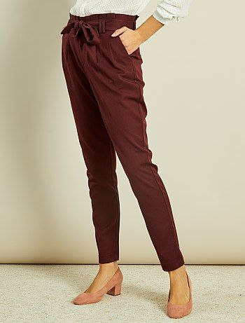 Pantalon droit taille haute à nouer bordeaux Femme - Kiabi   Costume ... f880f7b317f9