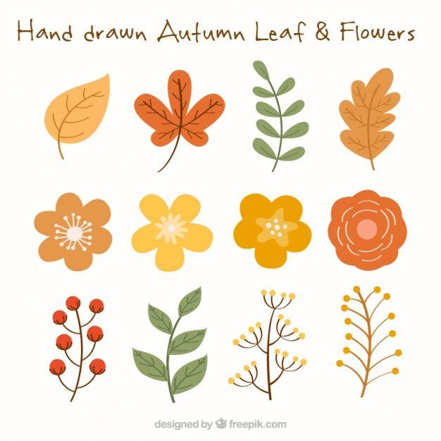 Hojas y flores otoñales en colores cálidos Vector Gratis | mural ...