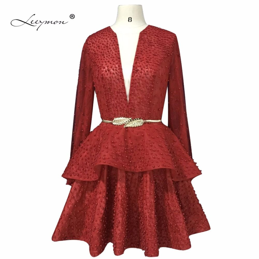 Click to buy ucuc leeymon actual photos long sleeves cocktail dress