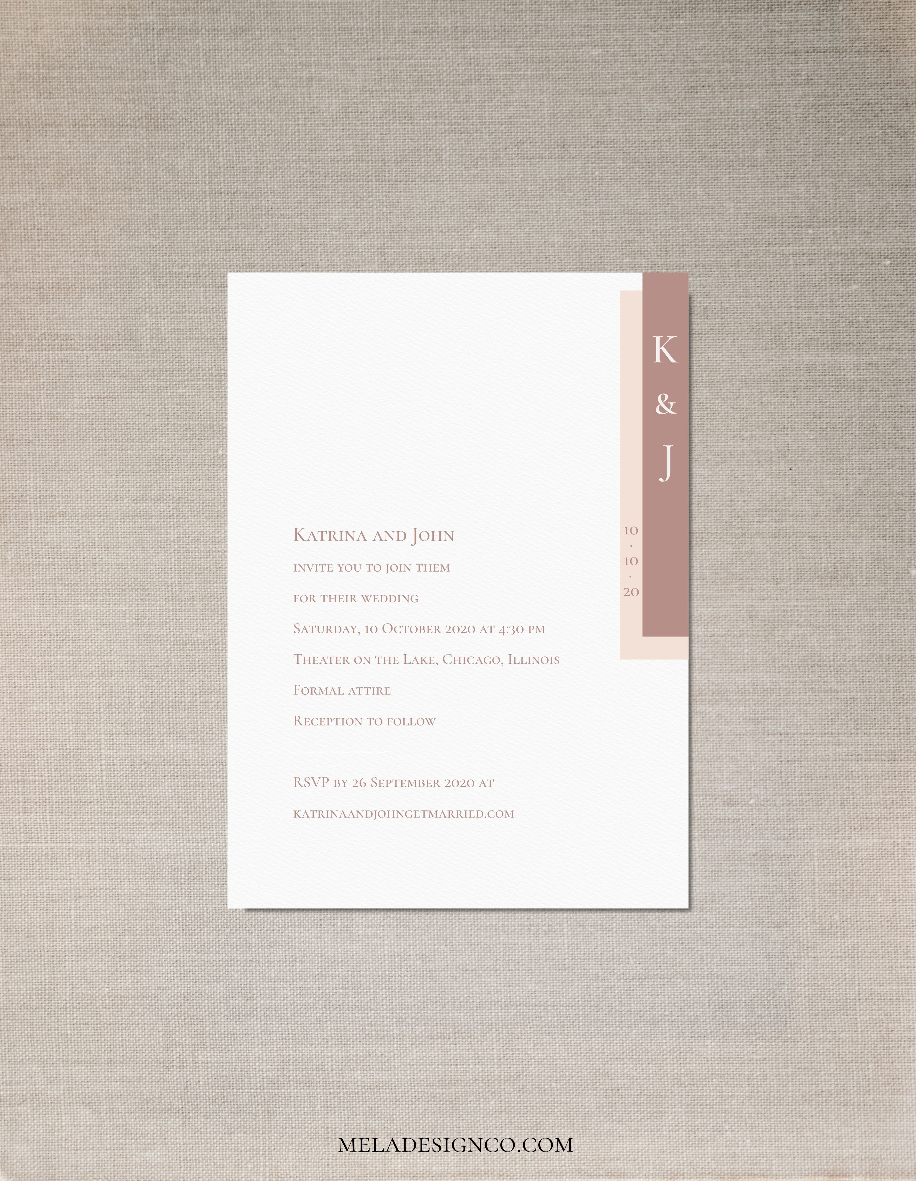 Includes Wedding Invitation Dusty Pink Wedding Invitation Set with Black Ink Printed RSVP and Envelope. Information Card