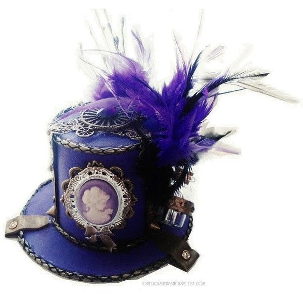 """Available in 14 Colors 5/"""" Purple Mini Top Hat Fascinator Base"""