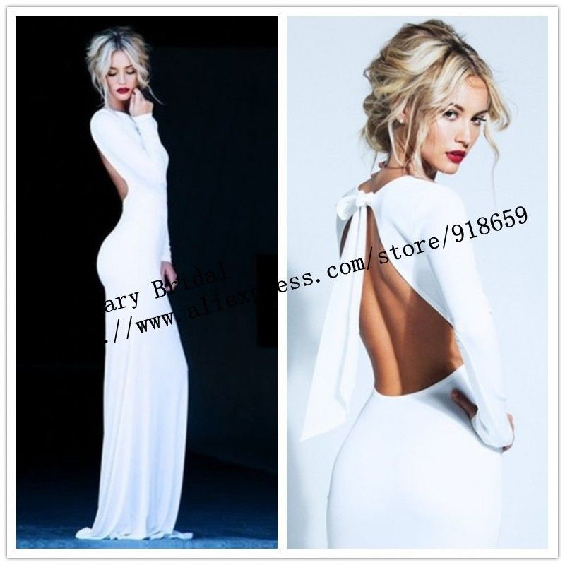 Long Sleeve High neck White /Ivory Backless Sheath Evening Prom ...