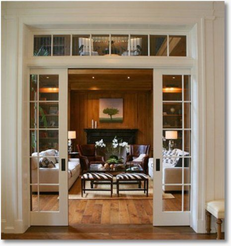 French pocket doors with transom window above dream home for Pocket french doors exterior