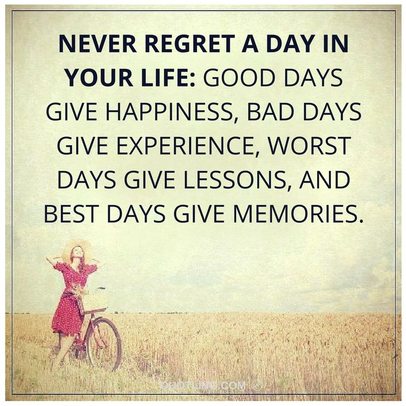 Never regret a day in your life good days give happiness