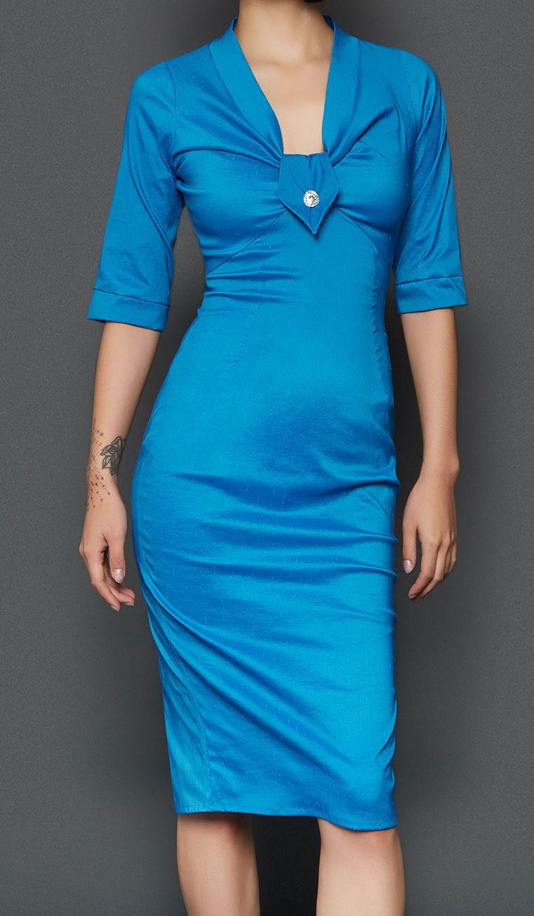 Tara Starlet 1940s 40s Style: The May Dress By Tara Starlet. Beautiful Turquoise Fifties