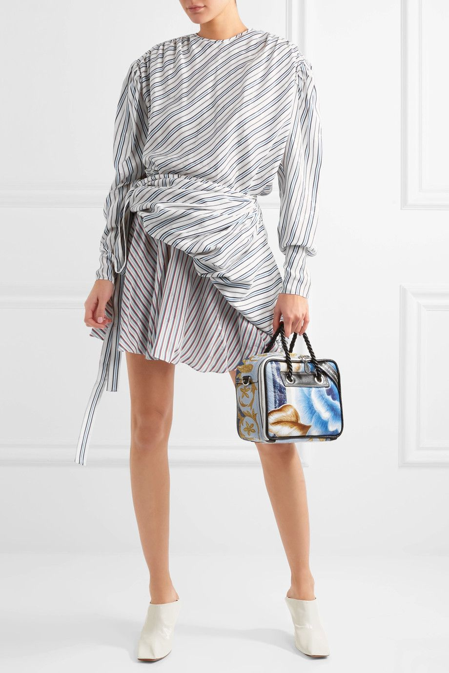 Sale 2018 Newest Hyper Online Gathered Printed Silk-jacquard Midi Dress - White Balenciaga Clearance Pre Order Wide Range Of TKsPscOk
