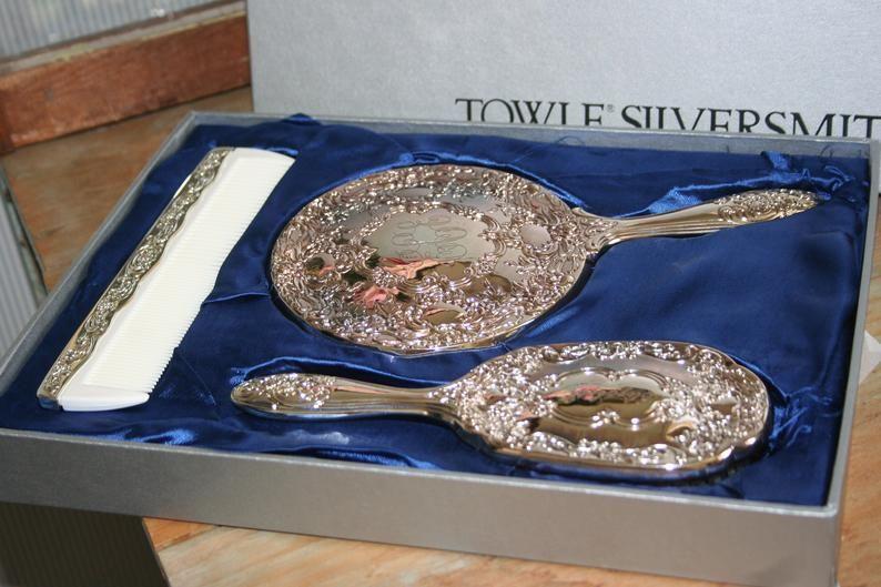 Towle Silversmiths 3 Piece Dresser Set Vintage Comb Brush Etsy