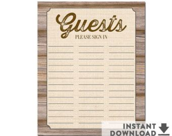 rustic baby shower guest sign in sheet guestbook alternativ 8x10