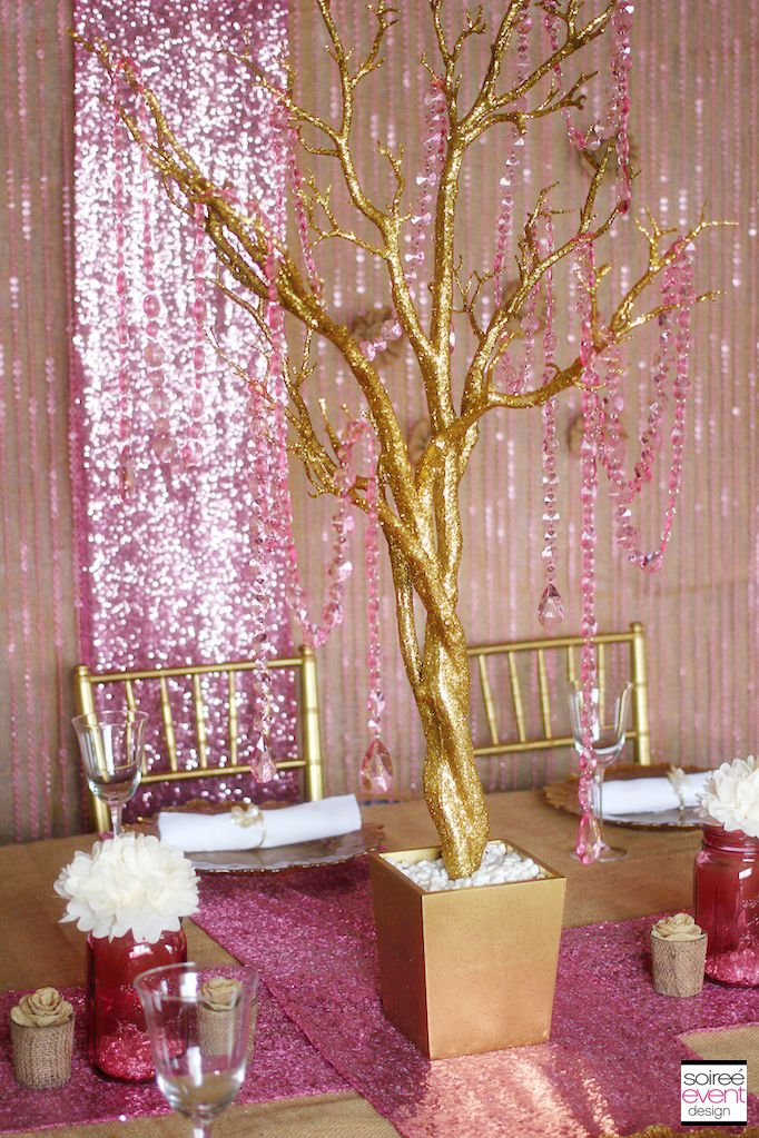 Trend Alert Rustic Glam Pink  Gold Wedding  WEDDINGS PINK  GOLD  Pink centerpieces Gold