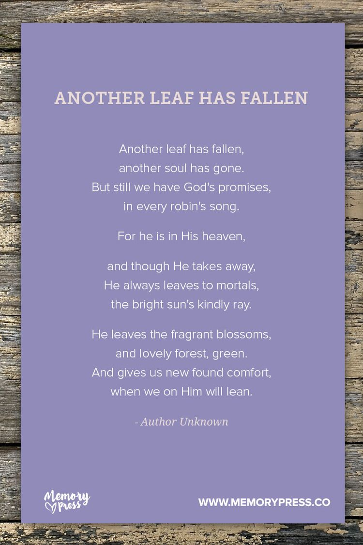 Another Leaf Has Fallen Author Unknown. A collection of