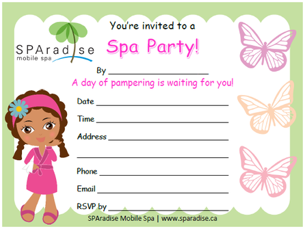 Free Printable Spa Party Invitation by SPAradise Mobile Spa – Spa Party Invitation Ideas
