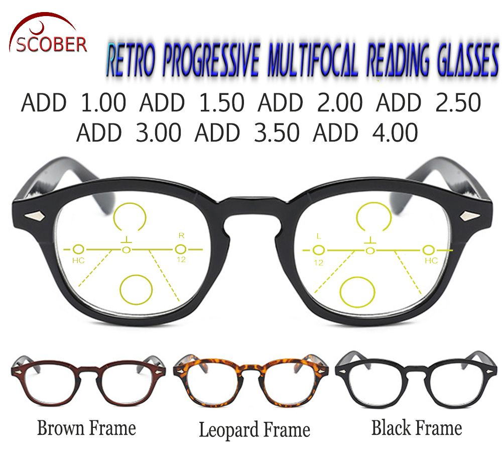 f241c5c0bc SCOBER   Progressive Multifocal Reading Glasses Classic Retro Vintage  Black Brown Eye frame See Near