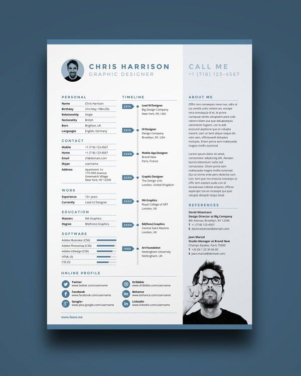 Free Single Page Resume Template PSD Resume Pinterest Free - single page resume template