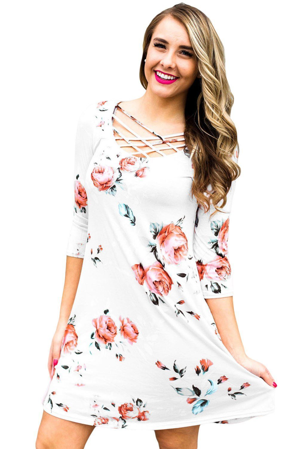 White Fence Neck Floral Print T Shirt Dress modeshe.com