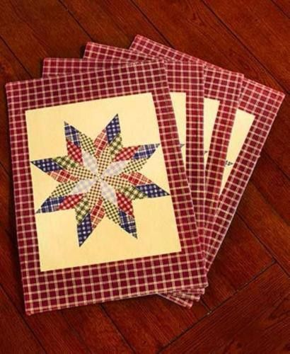Kitchen Linens Primitive Country Star Patchwork Placemats Quilted Checkered NEW