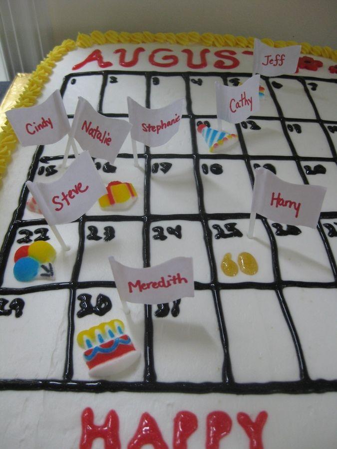 Calendar Birthday Cake August Birthdays Calendar Food