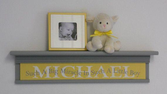 Everything Designish Baby Boy S Nursery: Custom Name Decor Sign, Grey Nursery Shelf With