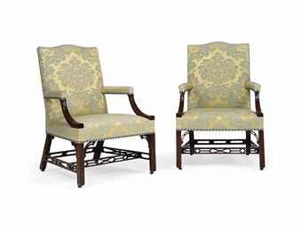 A PAIR OF GEORGE III MAHOGANY LIBRARY ARMCHAIRS  CIRCA 1760