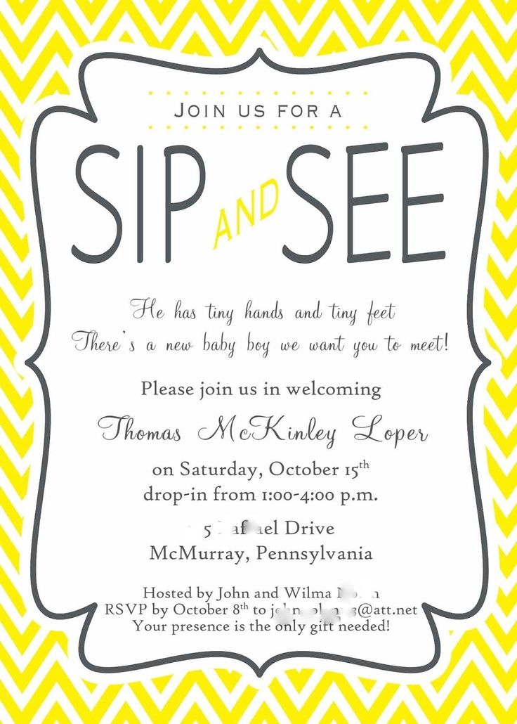 Check out Yellow and Gray Chevron Stripe Sip and See Invitation