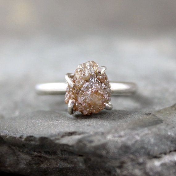 Three Carat Rough Raw Diamond Ring - Sterling Silver Ring -  Raw Gemstone Ring - Engagement Ring - Rustic Jewellery - April Birthstone on Etsy, $699.00