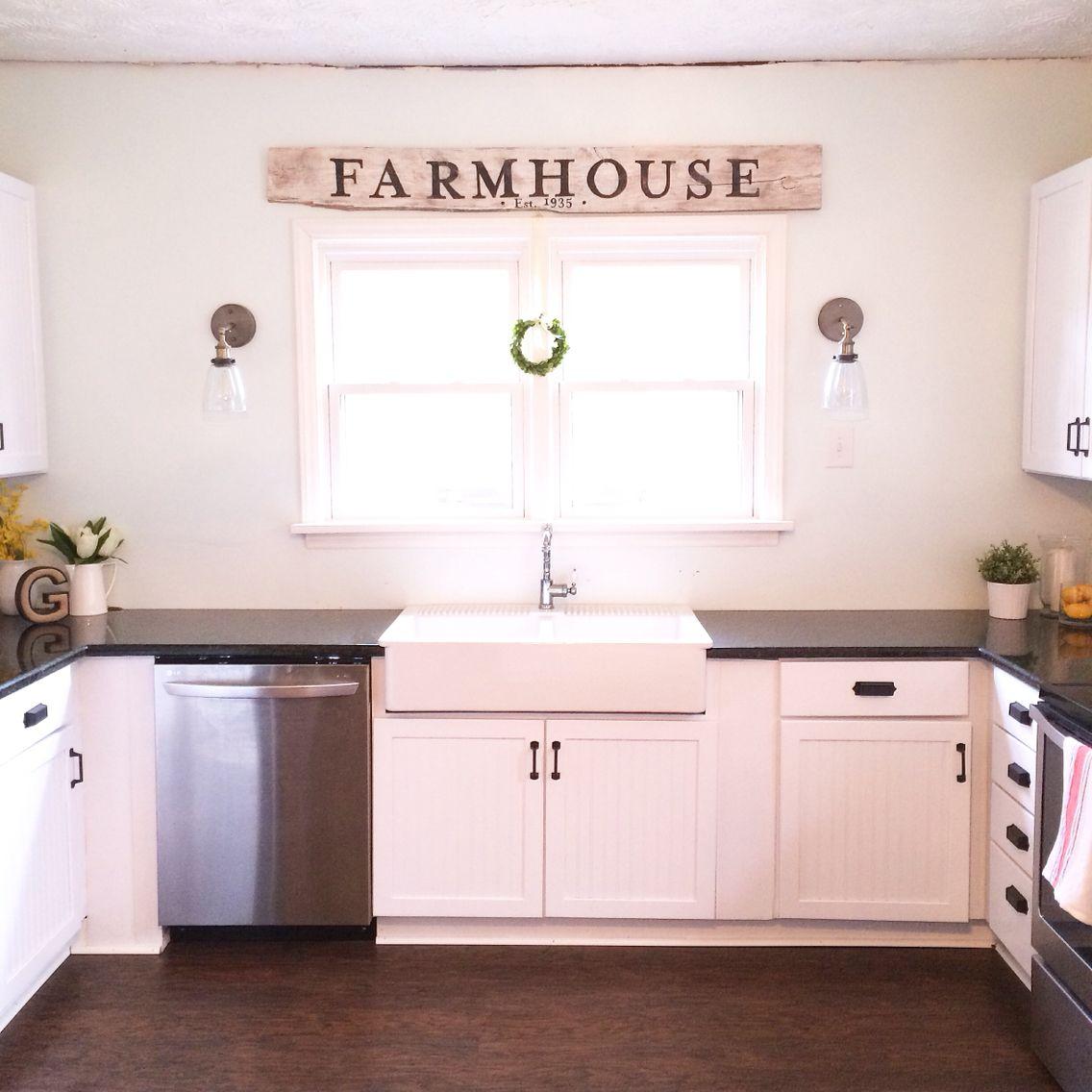 Farmhouse Kitchen Remodel With White Beadboard Cabinets Black Granite Apron Front Fa Cheap Kitchen Remodel Simple Kitchen Remodel Inexpensive Kitchen Remodel