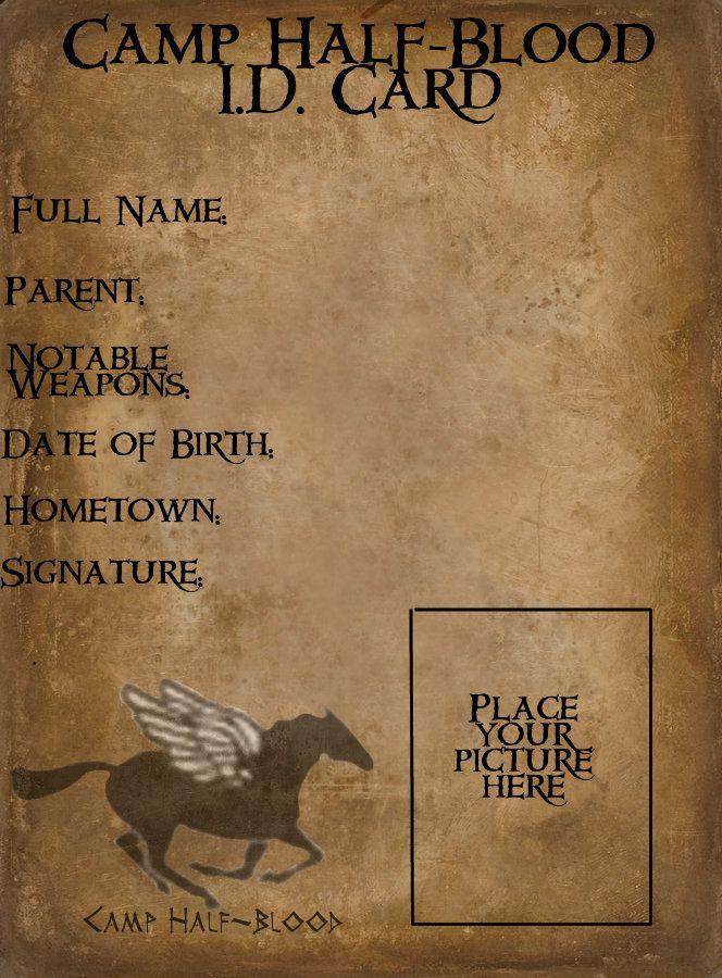 Camp Half-Blood ID Card by XxCountryGrlxX Percy jackson - id card template