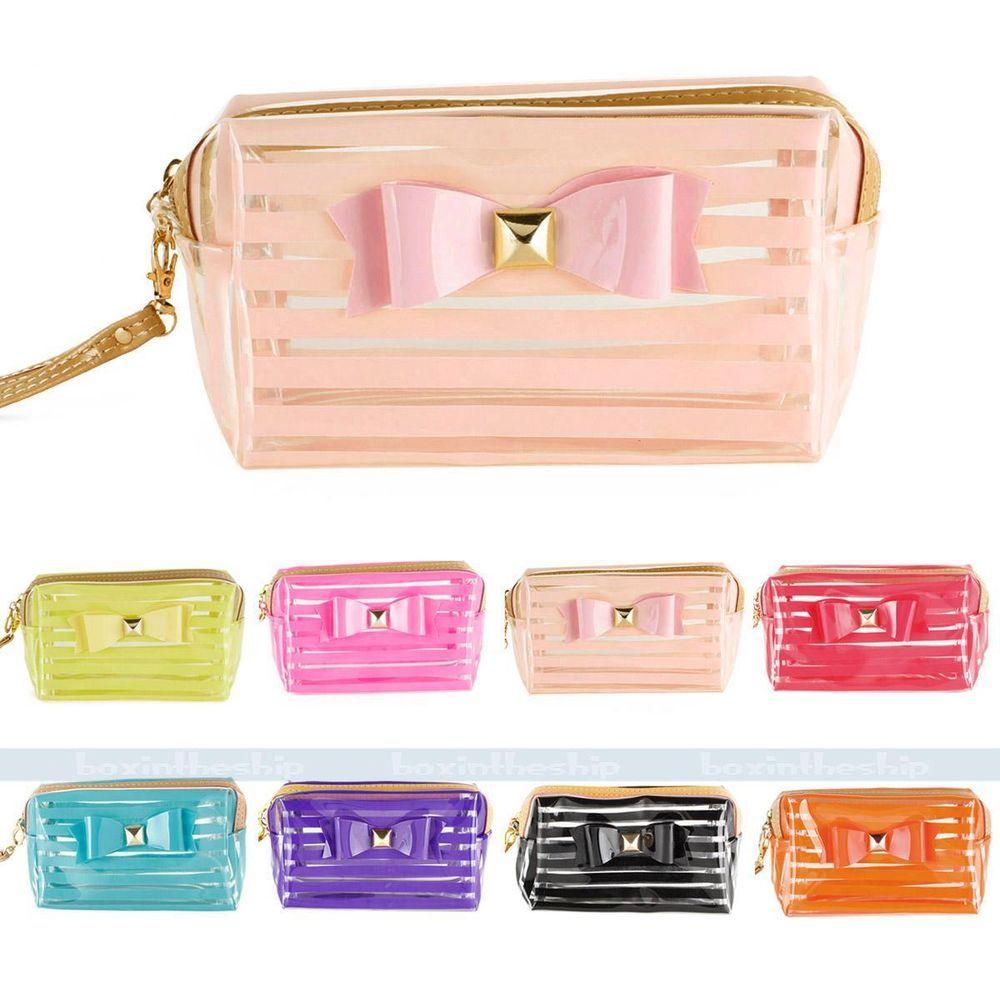 StripeTransparent Travel PVC Bow Tie Cosmetic Make Up Handbag Case Toiletry Bag