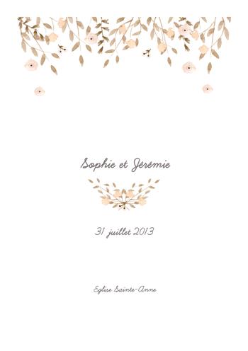 Un livret de messe mariage avec des fleurs classique et for Livret des fleurs