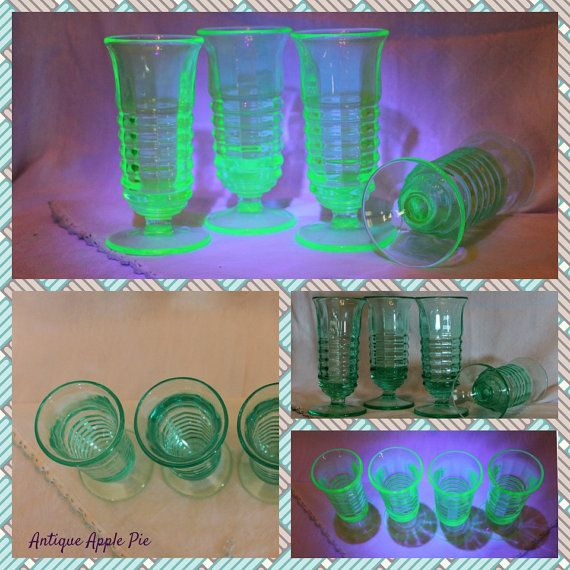 Vintage Uranium Green Footed Juice Tumblers set by AntiqueApplePie