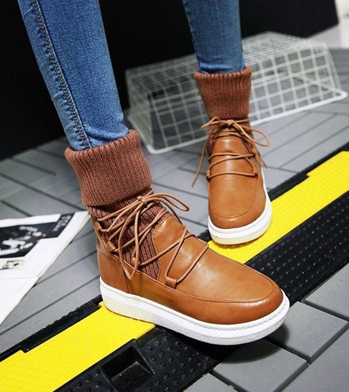 55c971393c7f Fashion Women Lace Up Knit Winter Ankle Boots Flat Casual Casual Platform  Shoes