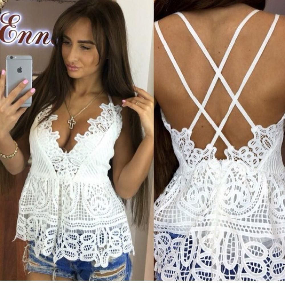 Wholesale-2016 Fashion Vintage White Lace Crochet Tops Summer Sexy V-neck Backless Cross Spahetti Strap Camis Floral Vest Women Clothing Clothing Holder Clothing Monkey Lace People Online with 22.39/Piece on Wearbag's Store | DHgate.com