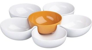 Daisy Chip and Dip with Orange Bowl - contemporary - serving utensils - by Crate&Barrel