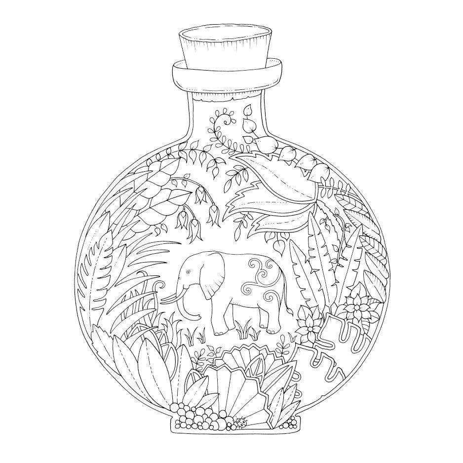 Pin Van Laetitia Ara Op Joanna Basfords Mandala Kleurplaten Kleurboek Olifant Tekening