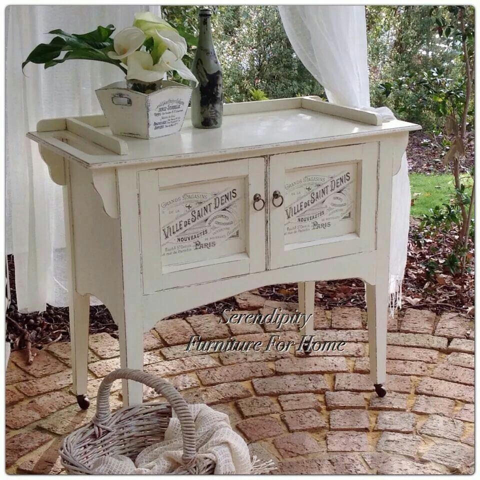 Old wash stand. New top with place for towels