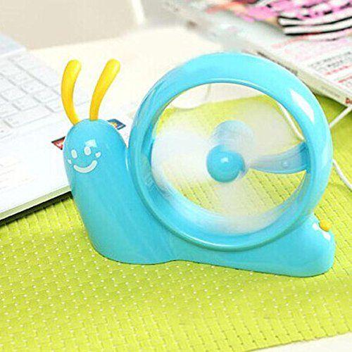Amazon.com - Vktech Mini Portable USB Fan Cute Smiling Snail Desk Laptop Cooler Cooling Fan (Blue) -