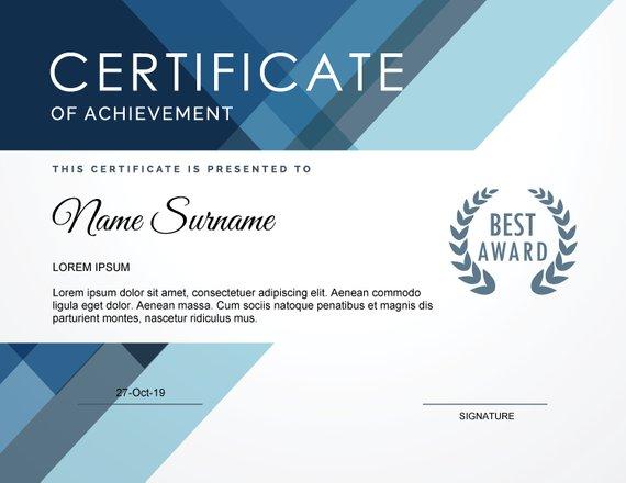 Printable Certificate Template Editable Corporate Award Gift