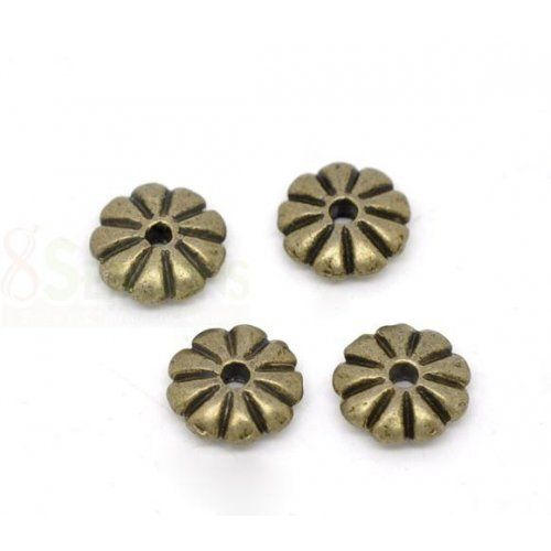 8 mm 20 Perlkappen dans vintage bronze