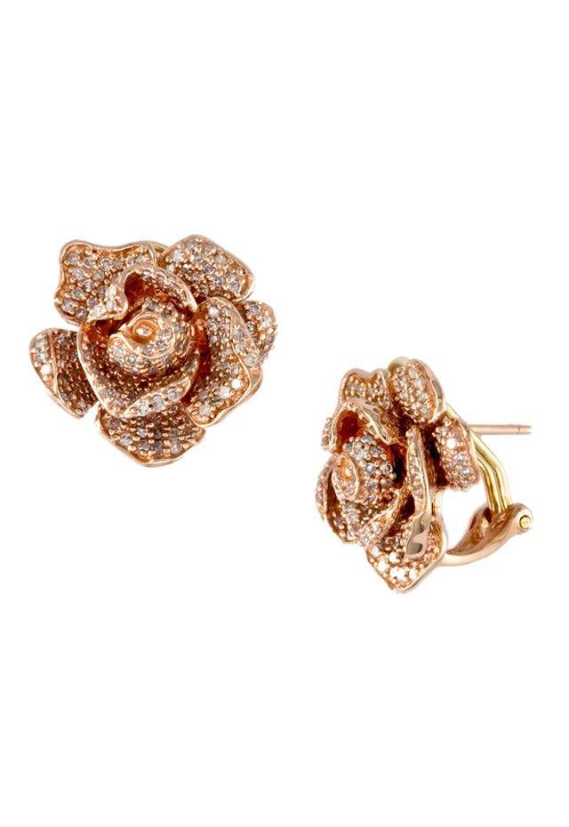Jardin Bloom Rose Gold Diamond Earrings 1 38 Tcw Nature Collections Rose Gold Diamond Earring Rose Gold Diamonds 14k Rose Gold Earrings