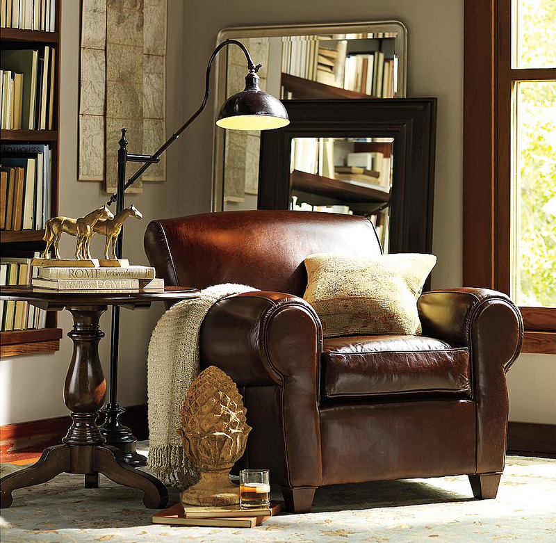 Love The Reading Light And Leather Chair Leatherchair