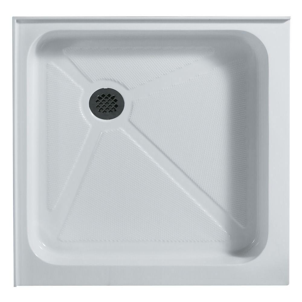 Vigo 36 125 In X 36 125 In Double Threshold Square Shower Base In White Shower Base Shower Pan Acrylic Shower Base