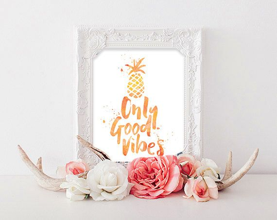 Only Good Vibes | Watercolor Pineapple Surf Boho Poster
