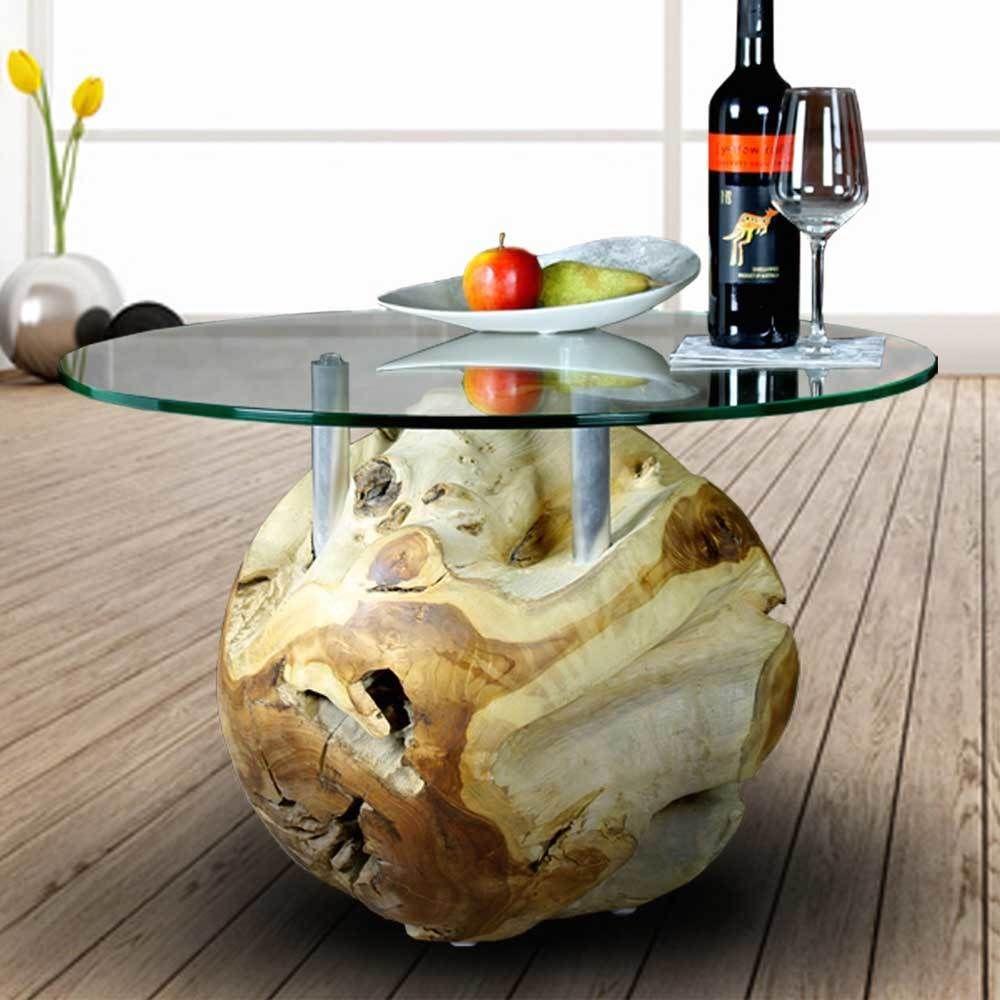 Teakholz couchtisch mit glasplatte  Design Couchtisch aus Teakholz Kugel mit runder Glasplatte Jetzt ...
