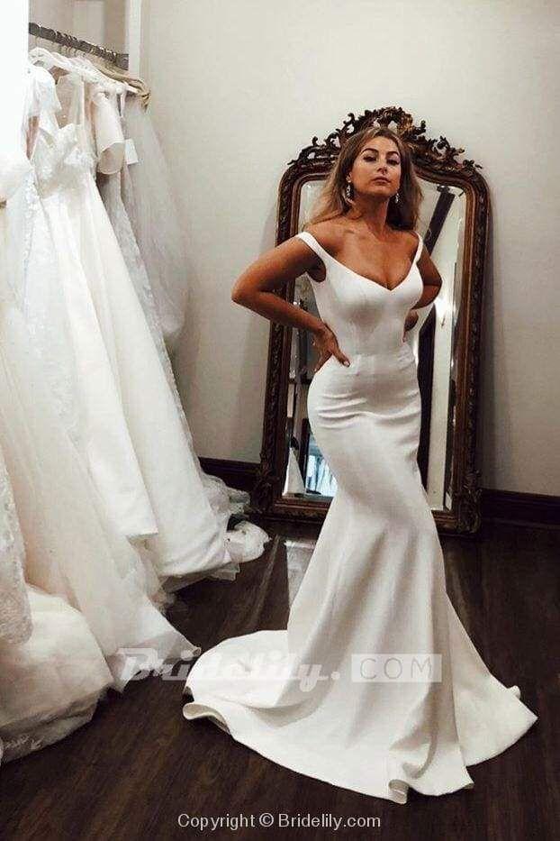 Simple Off the Shoulder Beach Elegant Long Wedding Dress -   18 dress Simple pictures ideas