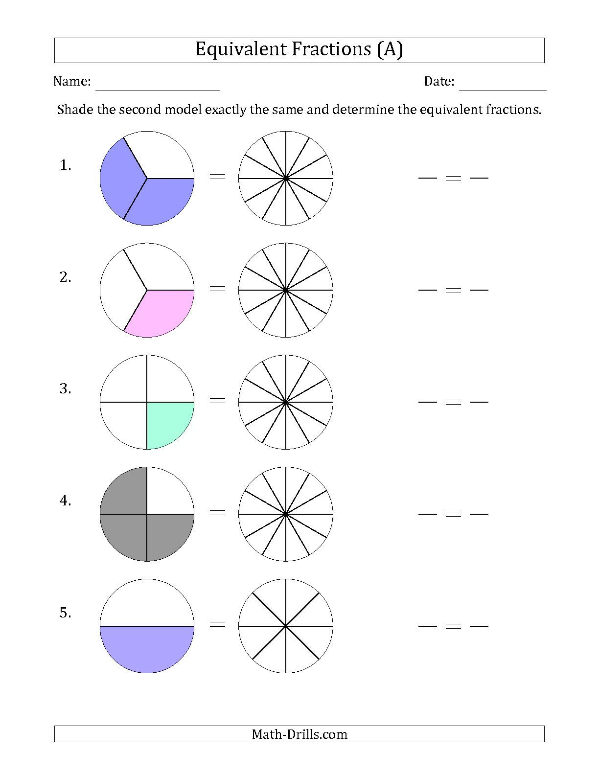 worksheet Free Worksheets On Equivalent Fractions the equivalent fractions models with simplified fraction first all math worksheet from the