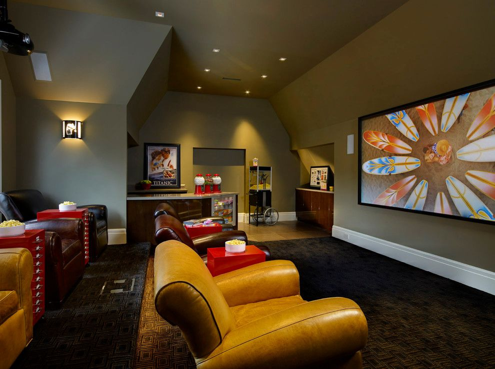 chic commercial popcorn machine in home theater on basement bar paint colors id=57371